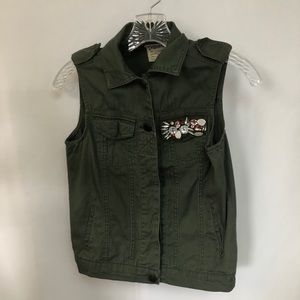 Dolled Up Army Green Vest with Gemstone Pocket